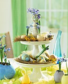 Tiered porcelain stand with Easter decorations and scillas