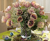 Arrangement of tulips, Gypsophila & Viburnum; Easter eggs
