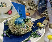 Nest with blue Easter egg and place card
