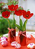 Red tulips and Easter eggs