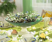 Breakfast table decorated for Easter with willow wreath