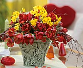 Arrangement of tulips and narcissi