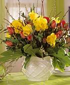 Arrangement of daffodils and tulips