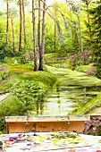 Oil painting of woodland scene on easel