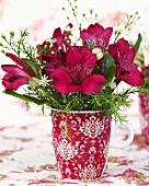 Vase of Peruvian lilies (Alstroemeria)