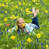 Girl in field of narcissi and grape hyacinths (spring)