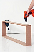 Making a console table (screwing wooden frame together with cordless screwdriver)