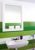Mirror and wash basin in a bathroom