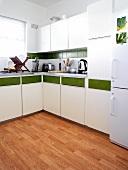 White kitchen with a green stripe