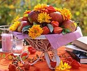 Bowl of apples, chrysanthemums and Chinese lanterns