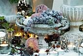 Winter decoration: sugared fruit in cast stone vase