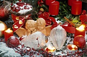 Christmas decorations: terracotta angels and glass cones