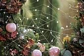 Winter decoration: wreath with wire cobweb