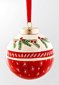 A Christmas bauble (red and white)
