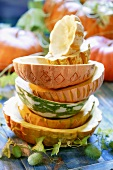 Hollowed-out pumpkin shells