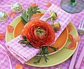 Orange ranunculus (plate decoration)