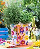 Rosemary & oregano in coloured plastic bag (table decoration)