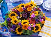 Wreath of sunflowers, marigolds, cornflowers etc.