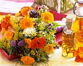 Bouquet of herb flowers (calendula, nasturtium etc.)
