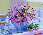 Arrangement of Michaelmas daisies & dogwood twigs in a bowl