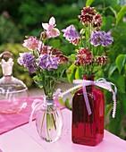 Zwei Blumensträusse aus Akeleien in Glasflaschen