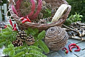 Materials for making Christmas wreaths