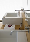 Washbasin in bathroom of an architect-designed house
