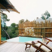 Wooden deck with pool