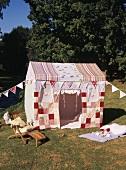 Children's tent on lawn