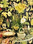 Various vases of exotic flowers
