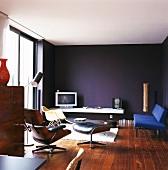 50s classic design in interior with indigo wall