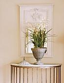 Flower arrangement on console table
