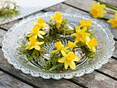 Small wreath of narcissi, moss and quails' eggs on plate
