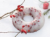 Home-made Christmas decoration: rose hips in a ring of ice