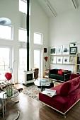 A sitting room in a loft flat