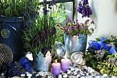 Fensterdeko mit Lavendel und Kräutern