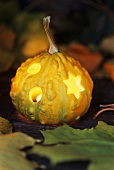 Hollowed-out pumpkin, illuminated from within
