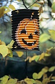 Paper lantern with printed pumpkin face hanging in tree