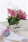 Place card with flowers