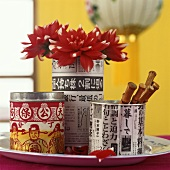 Tins with Chinese writing