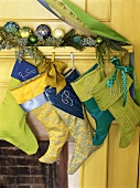 Christmas stockings hanging on a mantlepiece