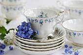 Coffee set with forget-me-nots