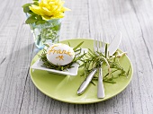 Place-setting with boiled egg as place card