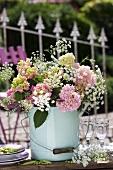 Hydrangeas in a bucket (table decoration)