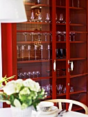 Red glass cabinet