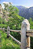 Holzzaun in den Bergen