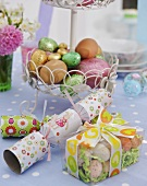 Easter eggs, chocolate eggs and crackers