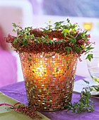 Mosaic windlight with wreath of erica, calluna and ivy