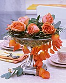 Wreath of Muehlenbeckia, eucalyptus, pine, roses & petals