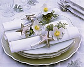 Napkins decorated with Christmas roses, cypress and stars